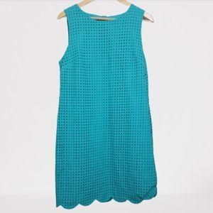 Cynthia Rowley cotton eyelet sheath dress teal 12